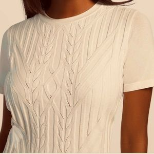 Cream short sleeve cable knit sweater, S